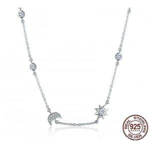 Cute sparkling moon and star long necklace